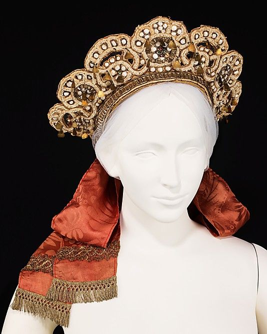 Wedding Headdress. Late 19th century, Russian. The Metropolitan Museum of Art, New York. Brooklyn Museum Costume Collection at The Metropolitan Museum of Art, Gift of the Brooklyn Museum, 2009; Gift of Mrs. Edward S. Harkness in memory of her mother, Elizabeth Greenman Stillman, 1931 (2009.300.1420)