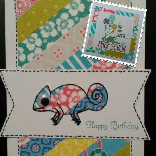 Geburtstagskarte ( u.a. mit Stampin Up & Create a smile Stamps, Washi Tape )