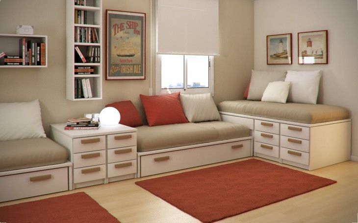 Modern Cream Painted Wall Small Kids Bedroom With Functional Beds And Minimalist Cupboard - pictures, photos, images