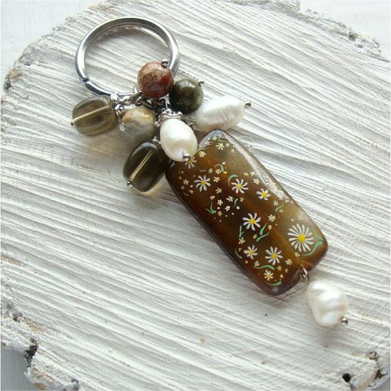 Keychain with agate keychain with stones keychain with