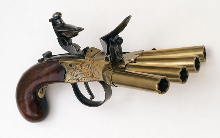 A Duckfoot Pistol, named aptly for its splayed barrels that give the appearance of well a duck's foot. This particular artifact is a four-barrel, .50 caliber flintlock pepperbox pistol made by G. Goodwin & Co. of London, England in the late 18th century.