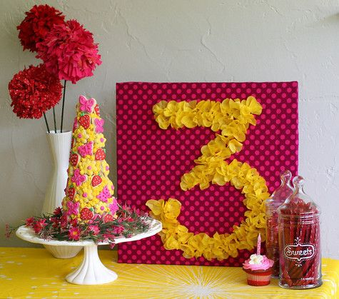 DIY Tissue Number Birthday Sign.  Cover Foam board with fabric. Cut out tissue paper flowers or use flowers from party garland. Draw number with chalk pencil, then hotglue flowers down.