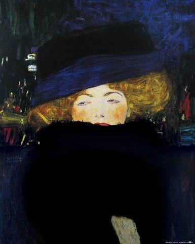 Gustav Klimt - Dame Au Chapeau Et Boa De Plumes, 1909