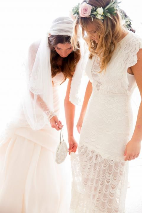 Bohemian Wedding Inspiration / White Crochet Bridesmaid Dress / Kara & Jeff: Organic Country Romance / LANE