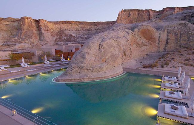 Amangiri in Utah. Designed to blend into the desert landscape, you're guaranteed a long, warm and relaxing break