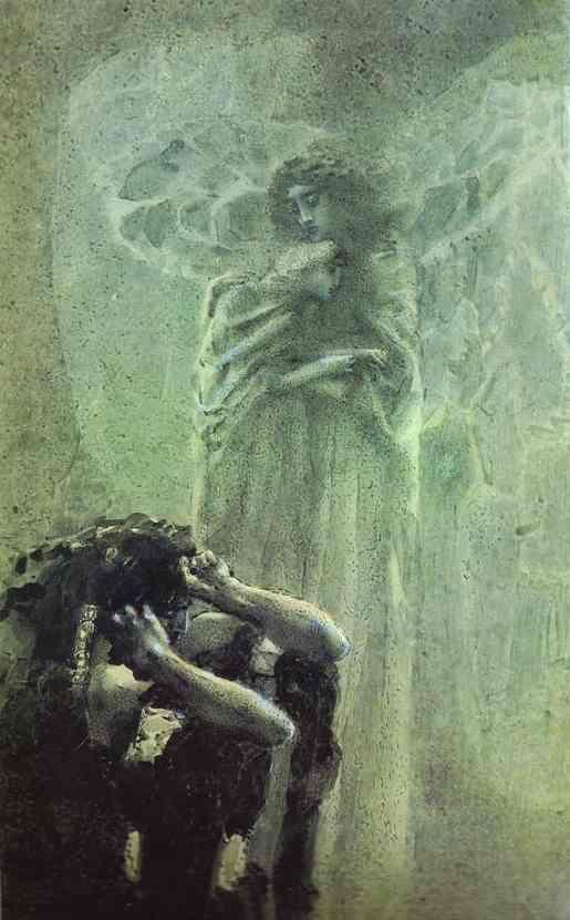 herejiaybelleza: poisonwasthecure: Demon and Angel with Tamara's Soul Mikhail Vrubel 1891 El tema del ángel de la guarda que custodia el alma de la inocente. Del fantástico Vrubel, simbolista ruso.
