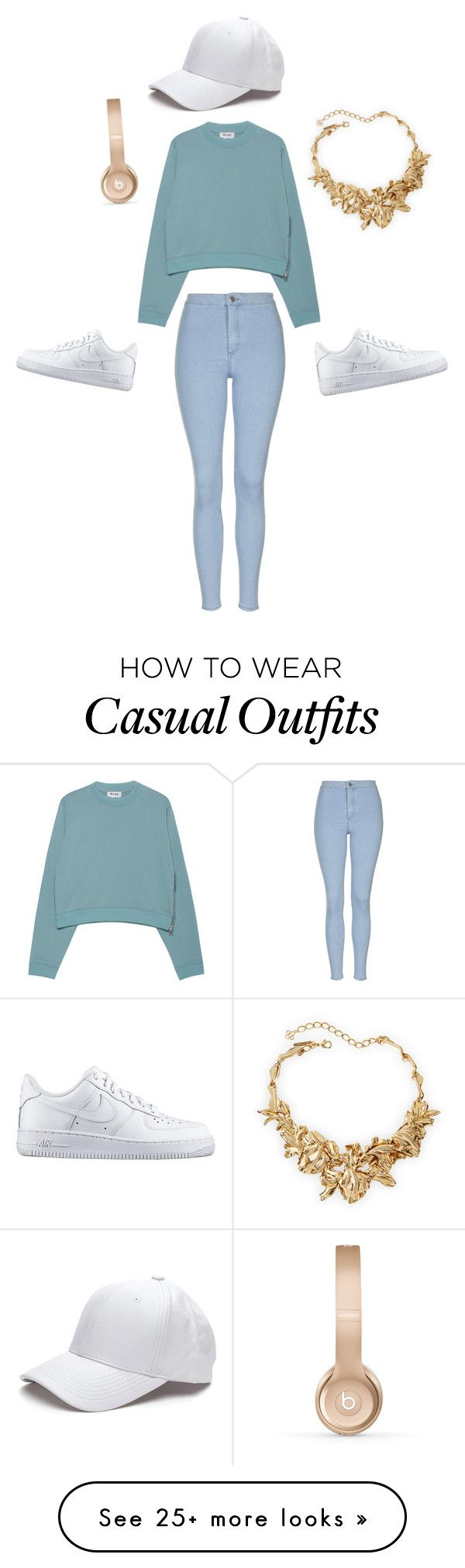 Casual Chic by joyrut on Polyvore featuring Topshop, Acne Studios, NIKE, Beats by Dr. Dre, Oscar de la Renta, womens clothing, women, female, woman and misses