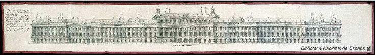 [Fachada principal del proyecto para el Palacio Real nuevo de Madrid]. Juvarra, Filippo 1678-1736 — Dibujo — 1735-1741