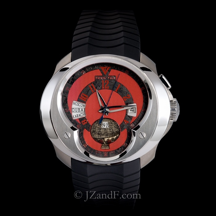 Franc Vila FVa5 Universal Time Zone (UTC) World Timer GMT - Exotic All Red Dial w. Black Meteorite  (Limited Edition of 88)