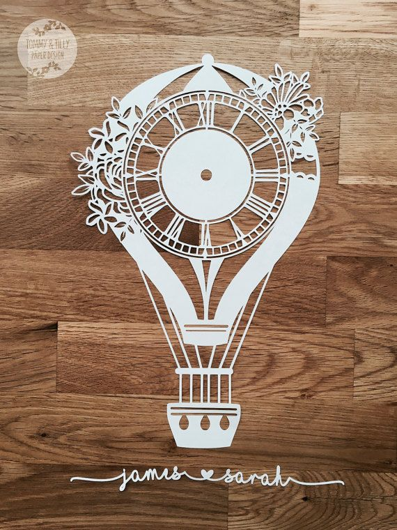 COMMERCIAL USE Hot Air Balloon Clock Design. Papercutting Template to print and cut yourself in SVG and PDF format.  Small Business Commercial Licence Included!!!   *****ITEM DESCRIPTION*****   - A perfect design for hand or machine paper cutting! Digitally traced from an original hand-drawing. There are two versions of the template included in this listing - one with the clock hands set at 3 oclock and one blank, allowing you to draw the hands at a specific time should you wish. Youre also…