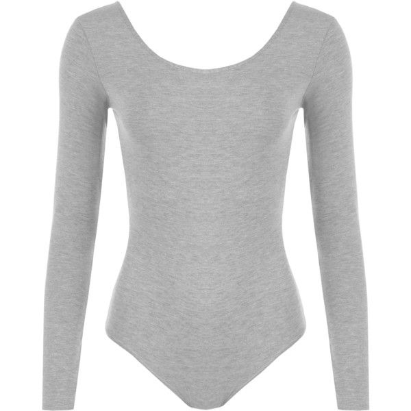 Iris Long Sleeve Bodysuit ($17) ❤ liked on Polyvore featuring intimates, shapewear, bodysuit, body suit and light grey