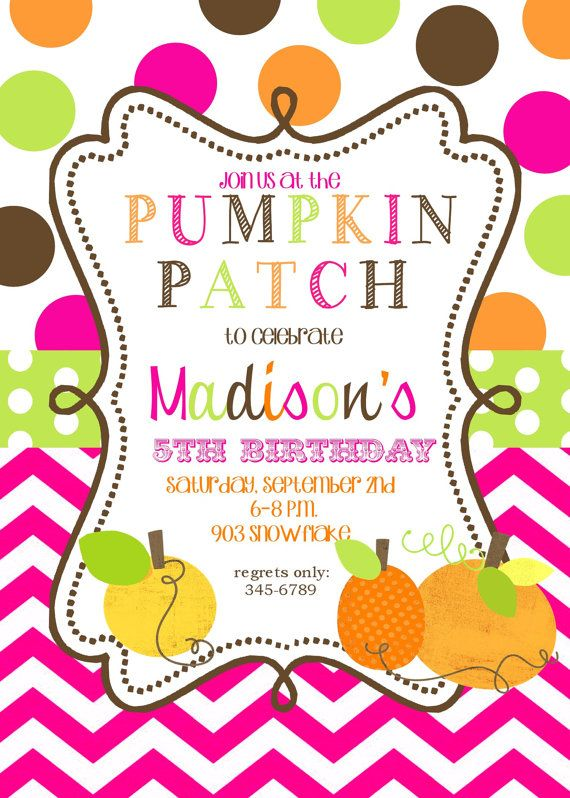 12   Pumpkin patch Birthday  party Invitations by noteablechic, $12.50 @Jennifer Collins