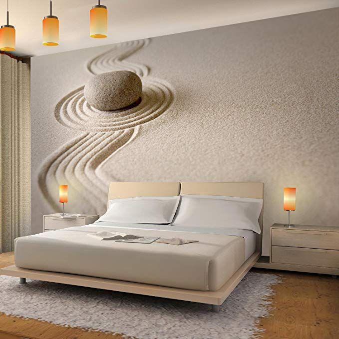 Schlafzimmergestaltung Wand Modernes Schlafzimmer Wand: Fototapete Sand Garten 396 X 280 Cm Vlies Wand Tapete
