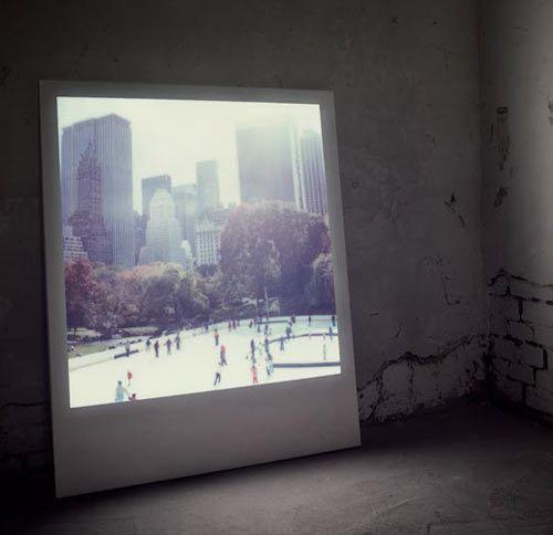 Large-scale Polaroid frames via Lightboys
