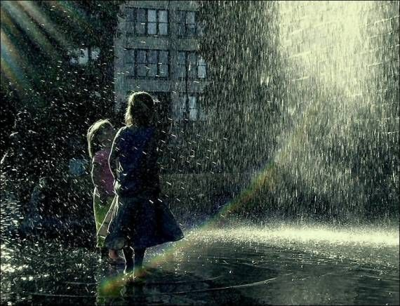 My little sister and I love dancing in the rain.
