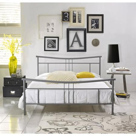 annika full metal platform bed frame nickel