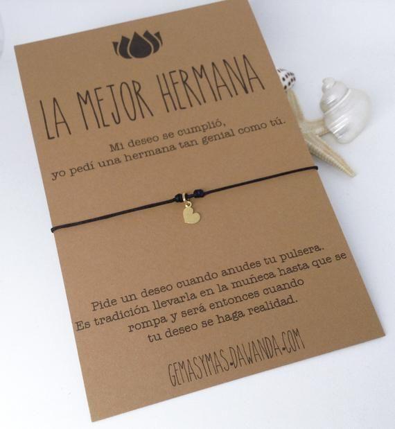 Personalizado Pulsera Hermana De Deseos Regalo no mejor hermana del que Tarjeta de familia