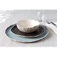 Stunning handmade organic dinnerware setting, Large ceramic dinner set ,Stoneware dinner setting, Blue Dinner