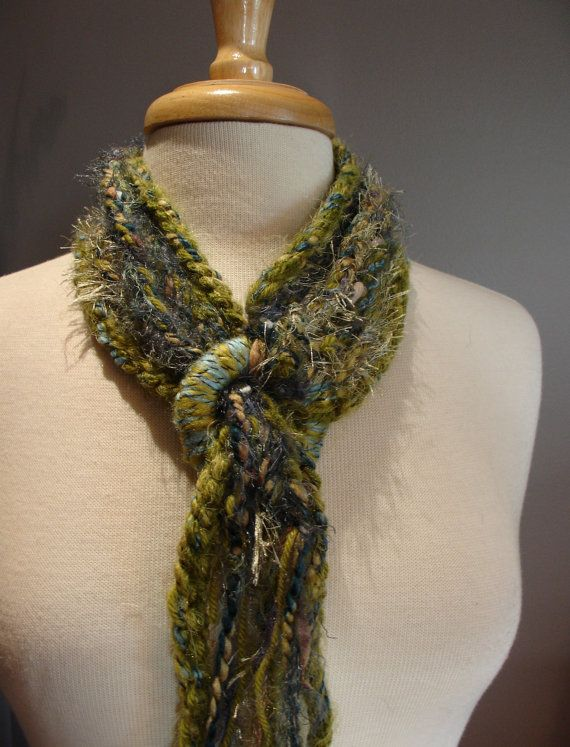 NeckLinkx in Sage - Crochet Fringe Rope Scarf with Crocheted Rings - Multitextural hand-crocheted Rope Cord Scarf. $23.00, via Etsy.