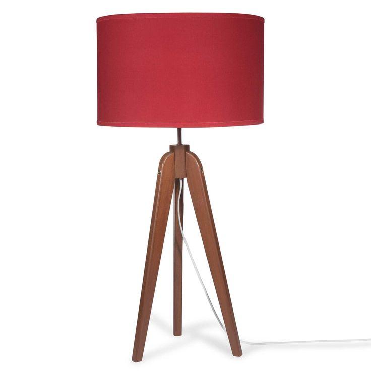 Lampe trépied en bois avec abat-jour rouge H 83 cm 49,99LUCE