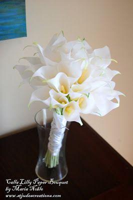 Calla Lilly Wedding paper flower Bouquet for Boyd recreation | Paper Flowers Handmade Tutorials DIY