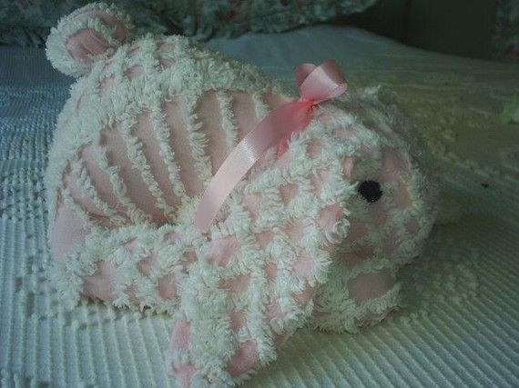 LOVE this Chenille Bedspread Pink Easter Bunny Rabbit