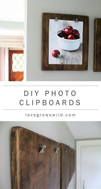 Create a DIY Photo Gallery with Style • Lots of Ideas  Tutorials! Including these DIY photo clipboards from love grows wild.