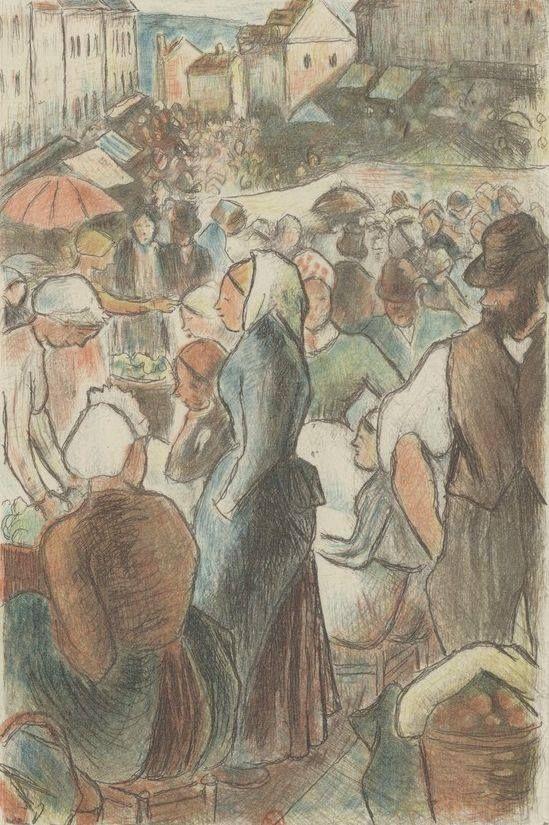 Marché de Gisors (rue Cappeville), estampe (7e état, en couleurs), v. 1894 http://gallica.bnf.fr/ark:/12148/btv1b6955255f