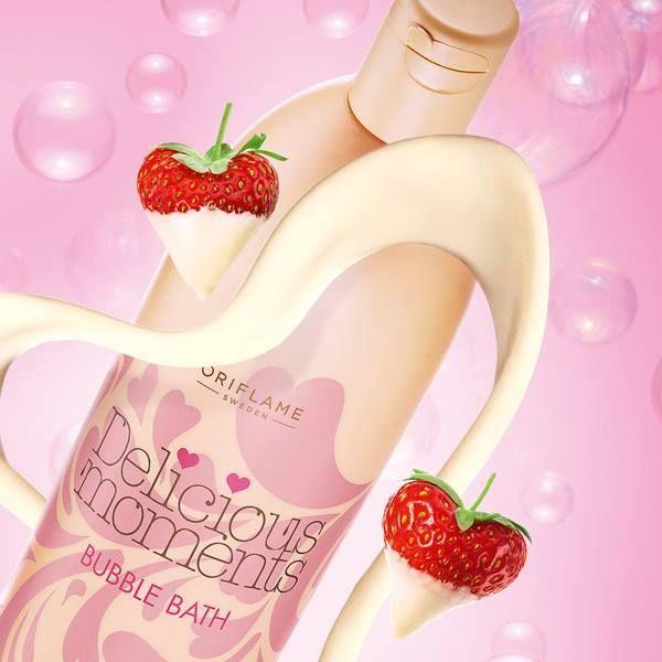 30115 BAÑO DE BURBUJAS DELICIOUS MOMENTS Disfruta de un baño de burbujas con dulce aroma de Fresas, delicioso Chocolate Blanco y una pizca de Vainilla. Una increible combinación de ingredientes que hará las delicias de tu día más romántico. 750 ml.