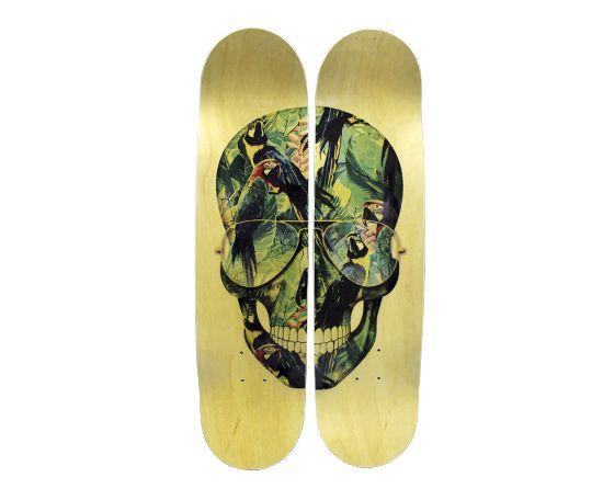 Quadro De Skate Tropical Skull Feito Com A Fauna E Flora Brasileira    Decoração Criativa Com