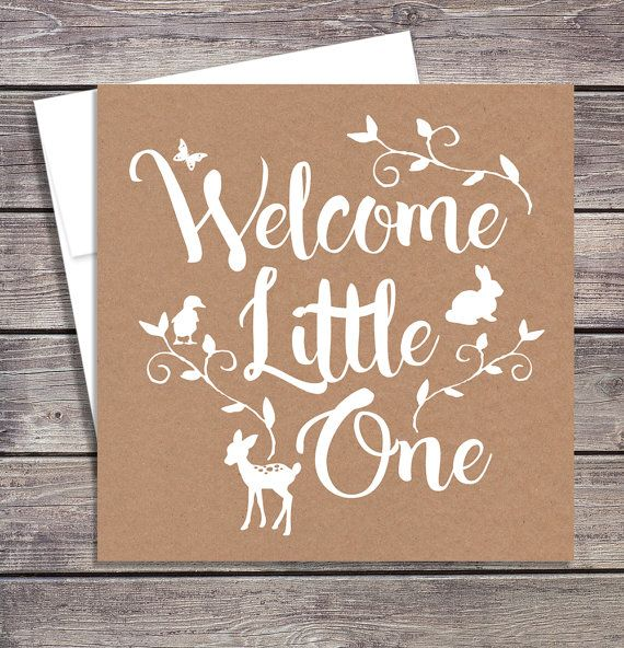 Welcome a new baby with this sweet rustic greeting card. Perfect for a woodland theme baby shower.