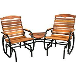 Natural Hardwood 2-Seat Glider with Table, Durably Crafted, Powder Coated Steel Frame, Bronze Finish