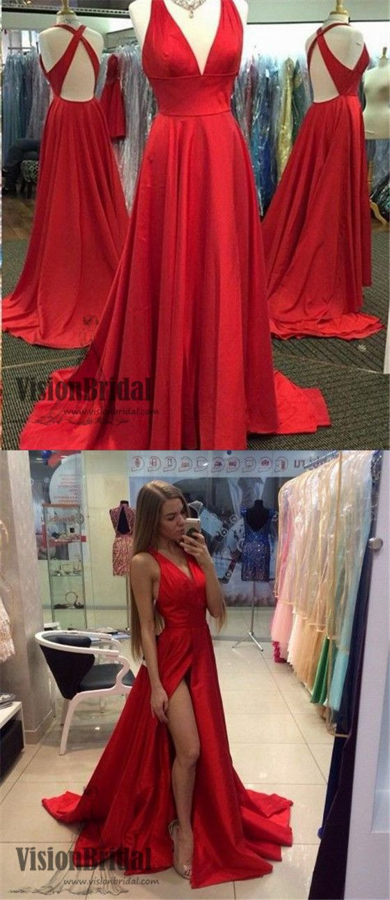 1740485d8f Deep V-Neck Cross Back Prom Dress
