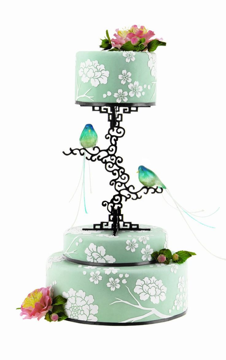 Cake featuring blown sugar birds on custom scroll separator by Elizabeth Hodes of Custom Cakes & Sugar ArtUnique Seperate Wedding Cakes, Custom Cake, Cake Stands, Wedding Cake With Birds, Purple And Gray Cupcakes, Awesome Cake, Beautiful Cakes, Wedding Cake With Blown Sugar, Birds Cake