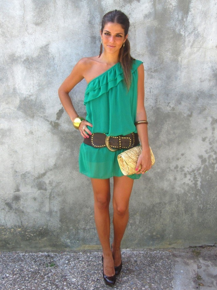 Green summer dress- Too Short but like the shoulder