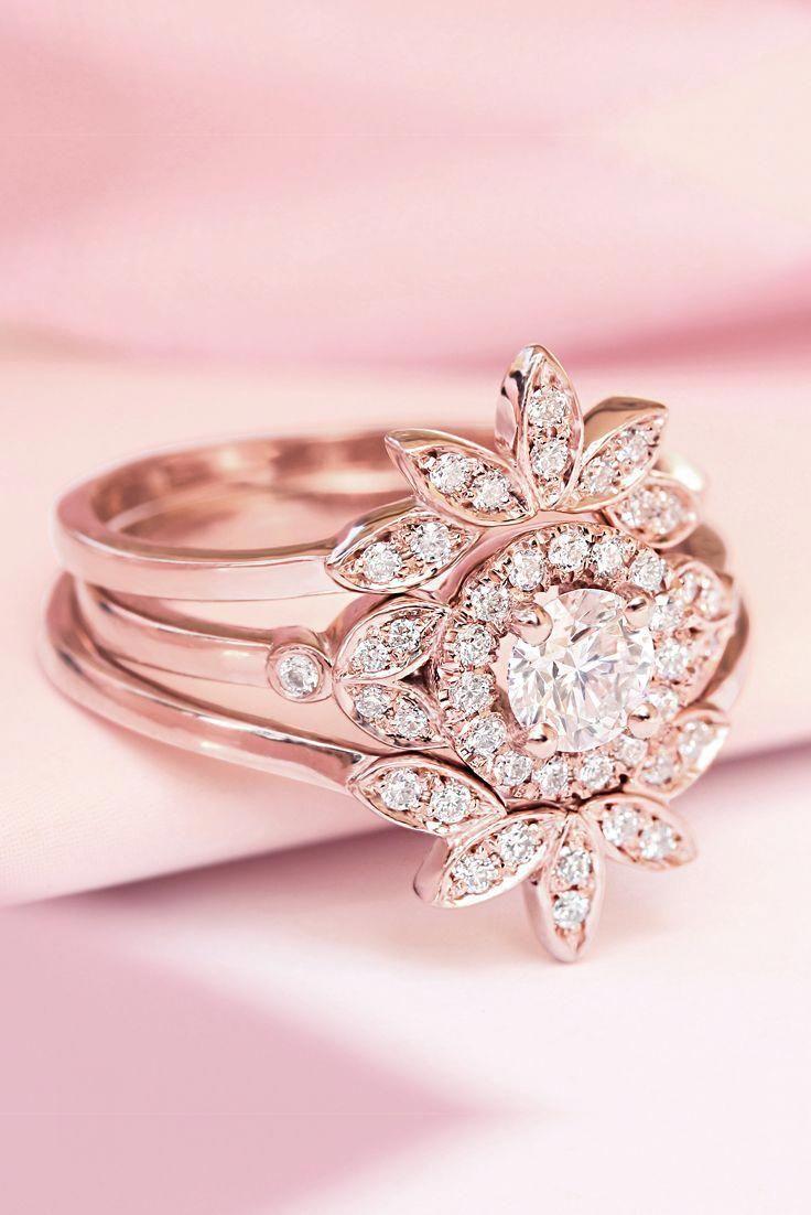 Unique engagement diamond floral and delicate wedding rings set rose gold #Uniqu…