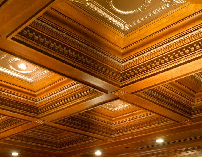Crown moulding coiffered ceilings and millwork coffered for Wood box beam