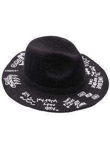Black Fashion Letters Print Hat