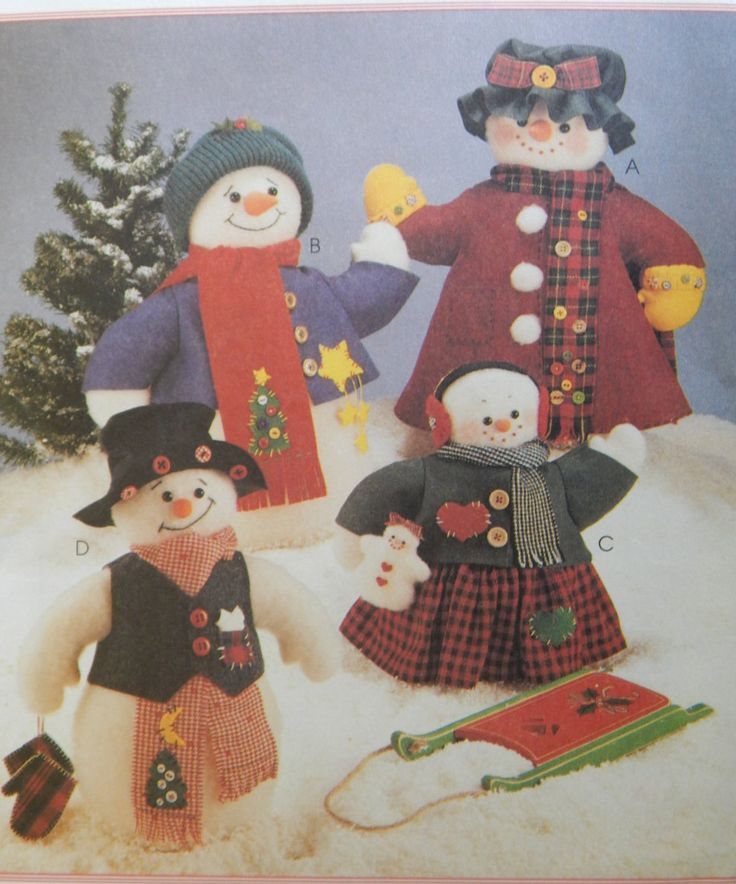Snow Family Sewing Pattern/ Mccall's Crafts 8387/ 20'' and 13'' Snow People/ snowmen winter christmas decorations by RedWickerBasket on Etsy