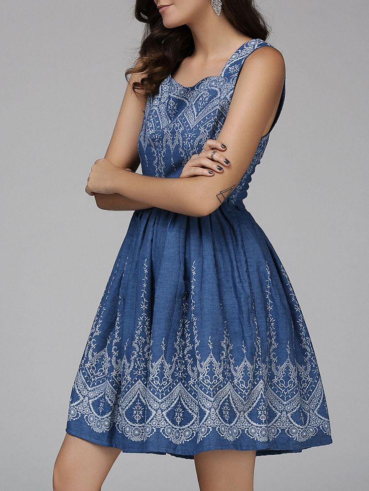 Vintage Style Sleeveless Floral Pattern Denim Dress For Women #Blue_and_White #Vinateg #Style #Summer_Dresses