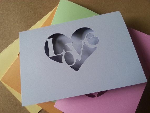 Rainbow Love Heart Card Collection by lyndsayloves on Etsy, £2.99