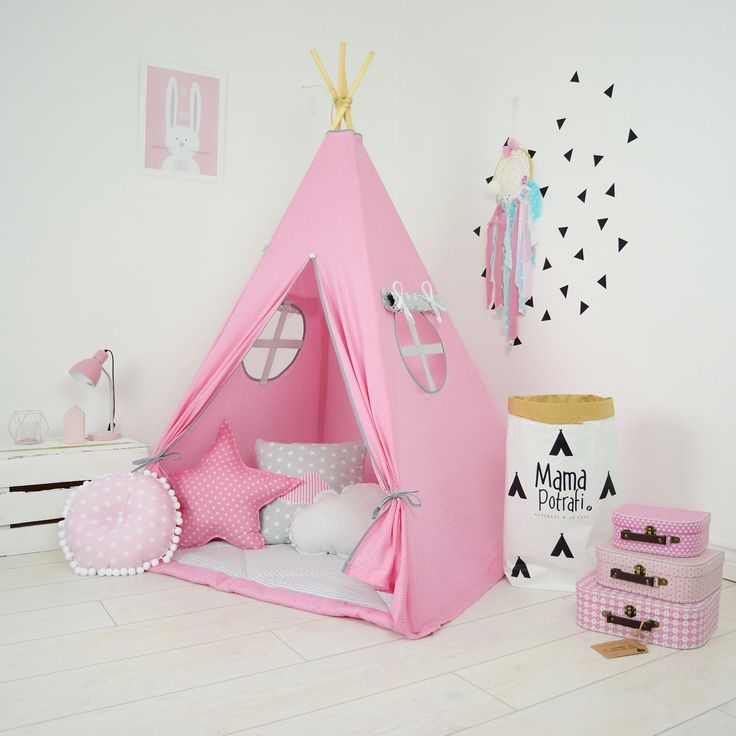 Teepee Set Kids Play Tent Tipi Kid Play Teepee Child Teepee Wigwam Zelt Tente- Sweet Pink by MamaPotrafi on Etsy
