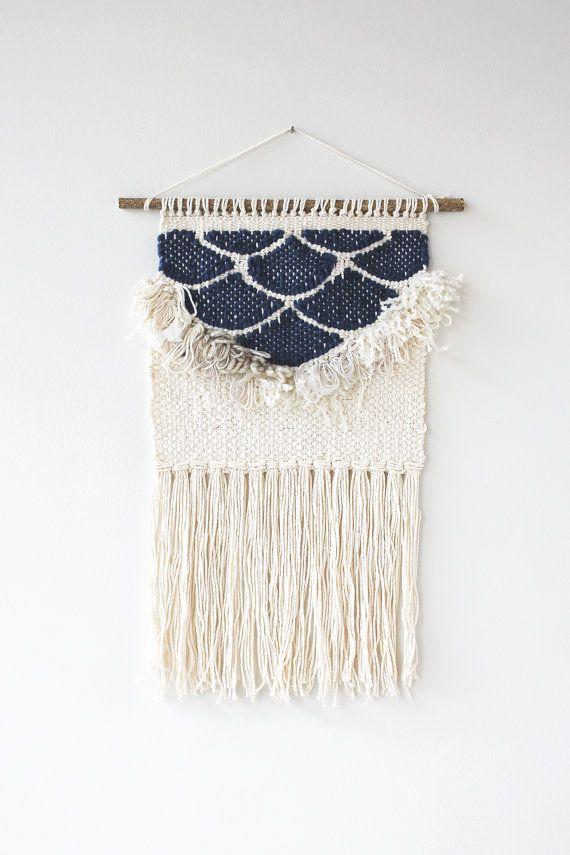 Navy Fringe Scallops Weaving Woven Wall Hanging by hellohydrangea