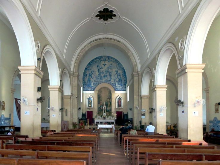 Blue ceramic tiles adorn the interior of the Catedral de Nossa Senhora da Graça in Sao Tome, São Tomé and Príncipe.