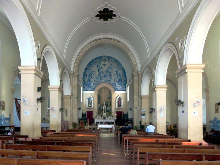 Blue ceramic tiles adorn the interior of the Catedral de Nossa Senhora da Graça in Sao Tome, São Tomé and Príncipe.