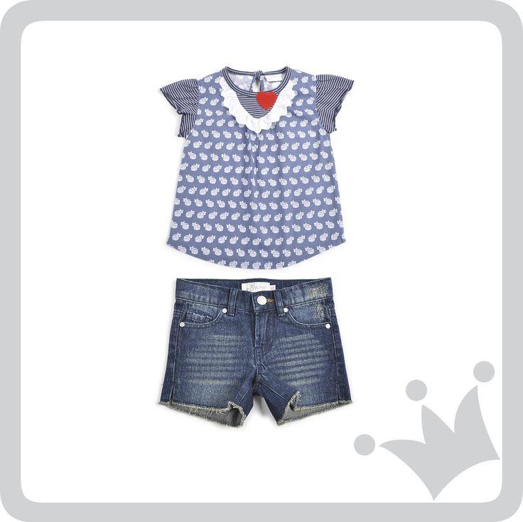 #Azul es el color del día y esta es la propuesta para las niñas.