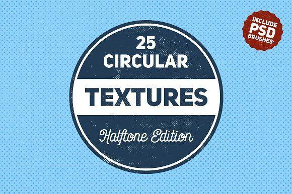 25 Circular Halftone Textures by BART.Co Design on @creativemarket