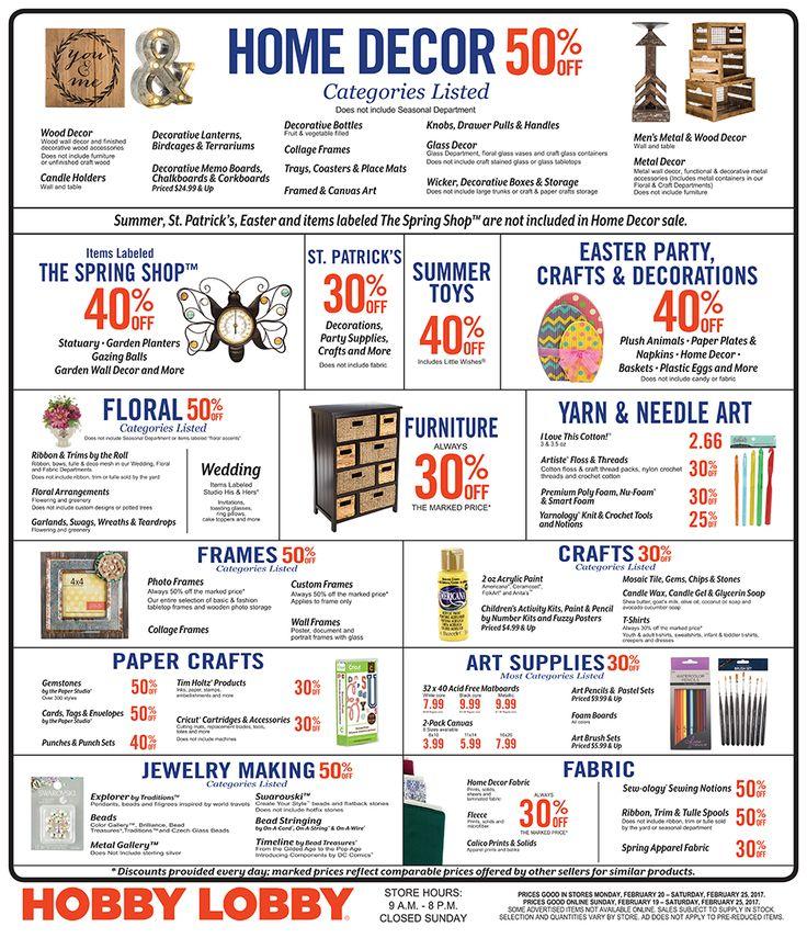 Hobby Lobby Weekly Ad February 19 - 25, 2017 - http://www.olcatalog.com/grocery/hobby-lobby-weekly-ad.html