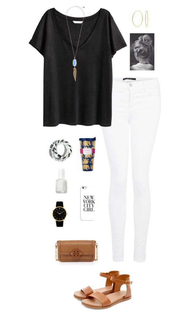 """""""black&white"""" by gabbbsss ❤ liked on Polyvore featuring J Brand, H&M, Casetify, Kendra Scott, Bling Jewelry, Essie, Tory Burch and Larsson & Jennings"""