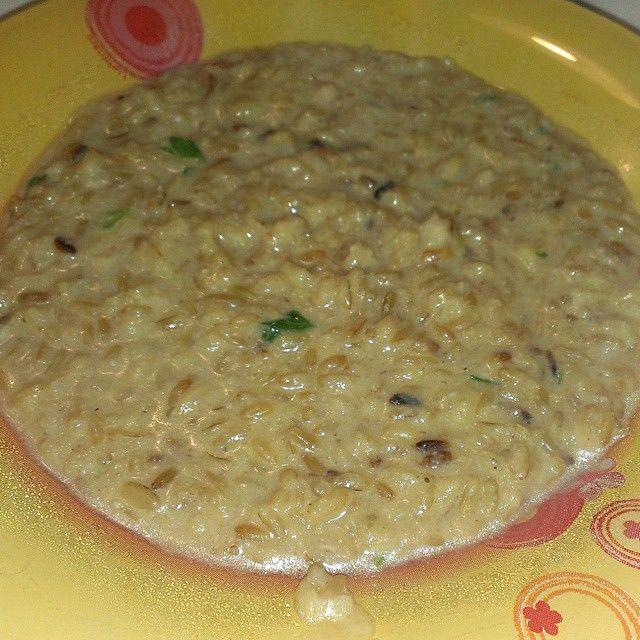 Cena di oggi: riso integrale con funghi porcini